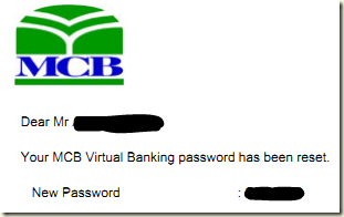 MCB Internet Banking Password Reset