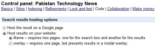 Google custom search configuration